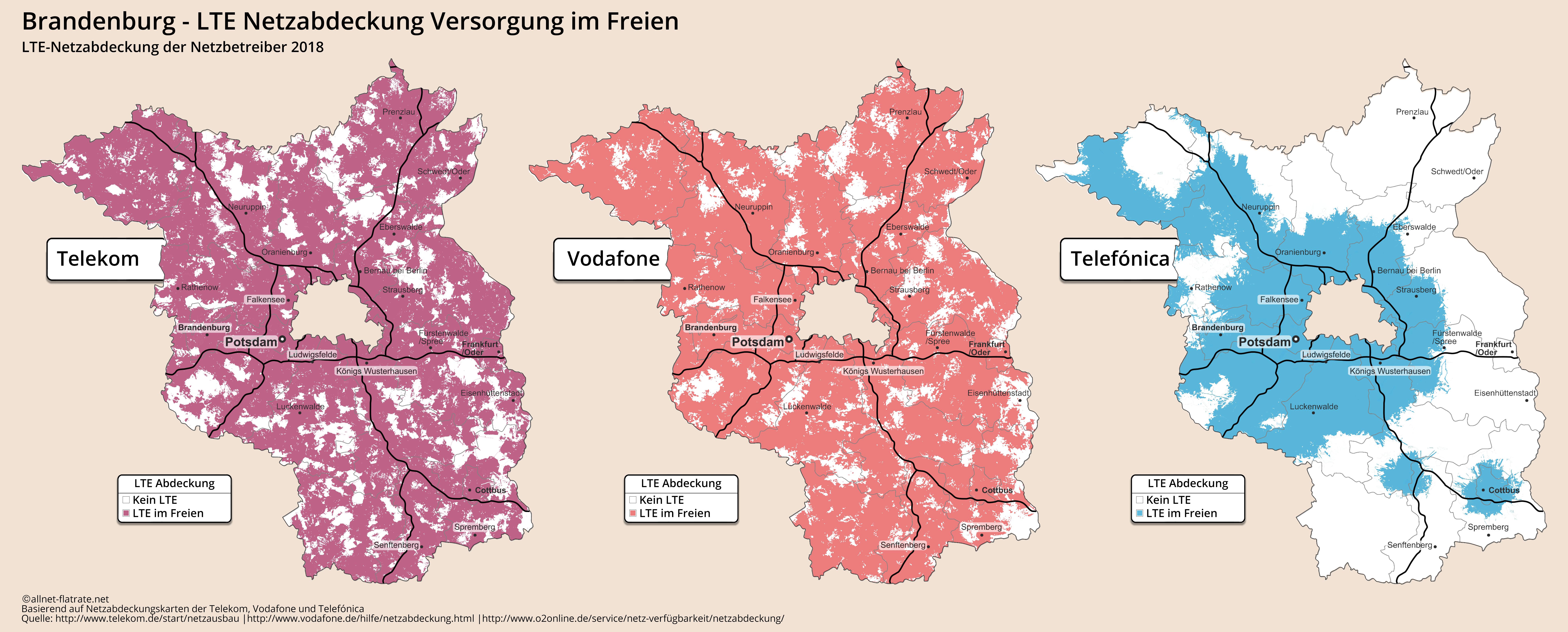Lte Netzabdeckung Karte.Brandenburg Lte Netzabdeckung Aktueller Ausbau D1 D2 O2