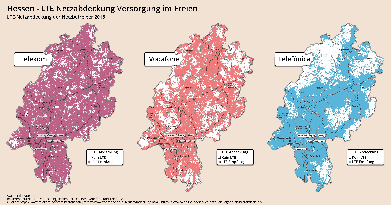 Telekom Lte Netzabdeckung Karte.Hessen Lte Netzabdeckung 2018 Aktueller Ausbau D1 D2 O2 Netz
